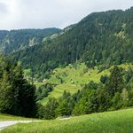 On our way on the bicycles over the mountain towards Bohinj
