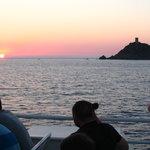 Coucher de soleil vu du bateau