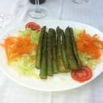 Fresh grilled green asparagus