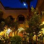 Riad courtyard by moonlight