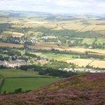Gattonside (above centre) and Melrose (closer) from Eildon Hills