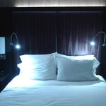 Queen bed showing individual LED reading lights