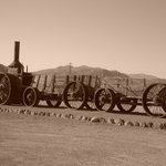 Wagon Train in front of the hotel