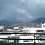 The view from our 7th floor apartment (with rainbow!)
