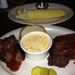 Pork, ribs and double serving of corn.