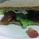 Gluten-free sandwich with vegan bacon