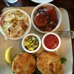 Crab cakes, cabbage & candied yams