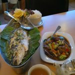 Steamed Seabass on a warming boat