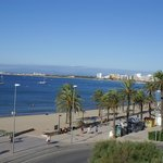 The view from our balcony along the Costa Brava coast towards Empuriabrava