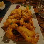 Pan fried shrimps on risotto