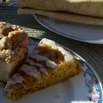 ONE course of our Breakfast. Yummy orange & crumb cake!!