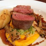 Duck breast with garlic and potato mash with carrot puree and wild mushrooms