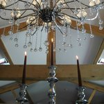 Under the chandelier is the place to get married!