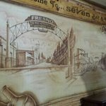 a mural on the wall just as you walk in.