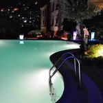 Pool and city lights at night
