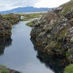 Between two tectonic plates