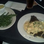 blackened red fish, beans, and cheese grits