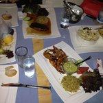 Salmon salad big shrimps and duck