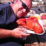 My husband's 3+ pound lobster. YUM!