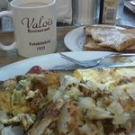 Mediterranean omelet with hashbrowns, coffee and toast - yum!