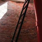 Last piece of ascent is via ladder