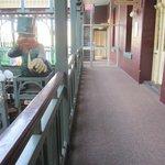 hallway to the rooms, complete with creepy Leprechaun