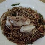 Pan fried chicken with stir fried noodles