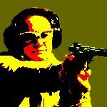Lady shooting pistol