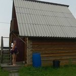 the cabin we stayed in, you can see Lake Baikal in the background