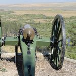 Howitzer on hill, neutralized early in the battle