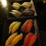 Ika, Spanish mackerel, Super white tuna & Maguro nigiri sushi