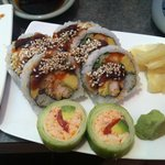 cuke maki and some kind of dragon roll - delicious!