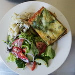 Pumpkin lasagna with salad