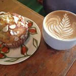 Scrumptious lemon poppyseed muffin & an Almond Agave Soy Latte!