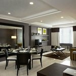 Living and dining area of the 2 bedroom suite.