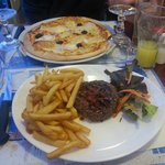 Pizza 3 fromages & Steak Frites