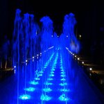 fountains at the Alcazar by night