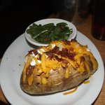 loaded baked potato and green beans