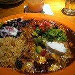 Enchiladas: mole and artichoke