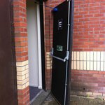 Broken external fire door