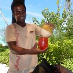 tasting fresh coconut
