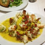 Garlic prawns with saffron rice