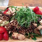 Quinoa salad with shiitake mushrooms, chicken and teriyaki sauce