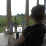 Sitting on the patio overlooking the vineyards