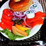 Bagels with smoked salmon & capers