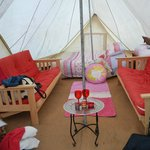 Inside one of the Teepee tents after we piled luggage for 5 people into it