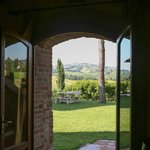 Entrance door with view of San Gimignano