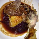 goose leg confit with braised red cabbage