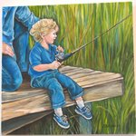 "Oil painting by Suzan Bertrand ""Boy Fishing"""