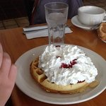 breakfast special!! waffles and strawberries...oh a just a little cream